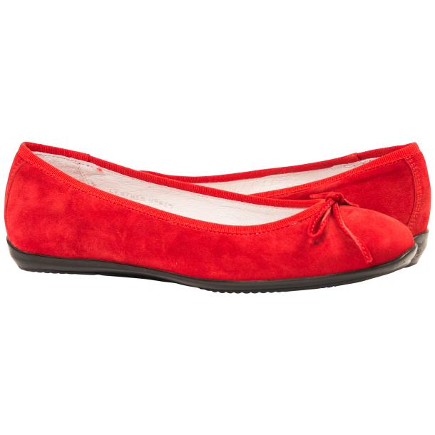 Irene Fire Red Suede Rubber Sole Ballerina Flats thumb #1