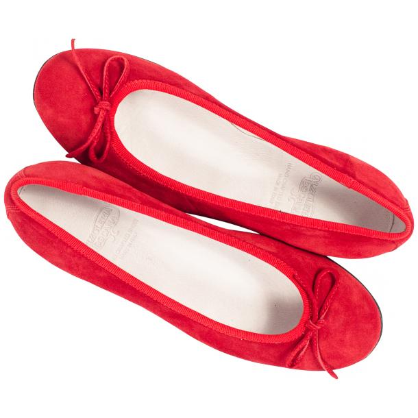 Irene Fire Red Suede Rubber Sole Ballerina Flats full-size #2