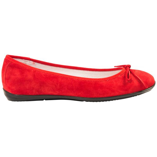 Irene Fire Red Suede Rubber Sole Ballerina Flats full-size #4