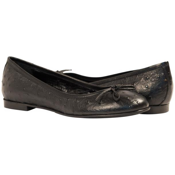 Diamond Black Ostrich Print Nappa Leather Bow Ballerina Flat full-size #1