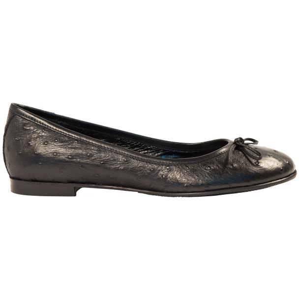 Diamond Black Ostrich Print Nappa Leather Bow Ballerina Flat full-size #4