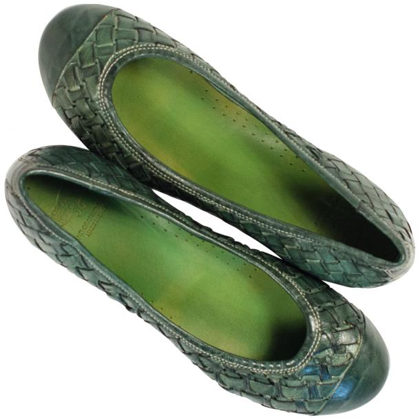 Kate Dip Dyed Green Hand Woven Leather Ballerina Flats thumb #2