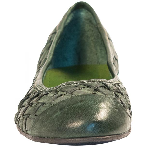Kate Dip Dyed Green Hand Woven Leather Ballerina Flats thumb #3