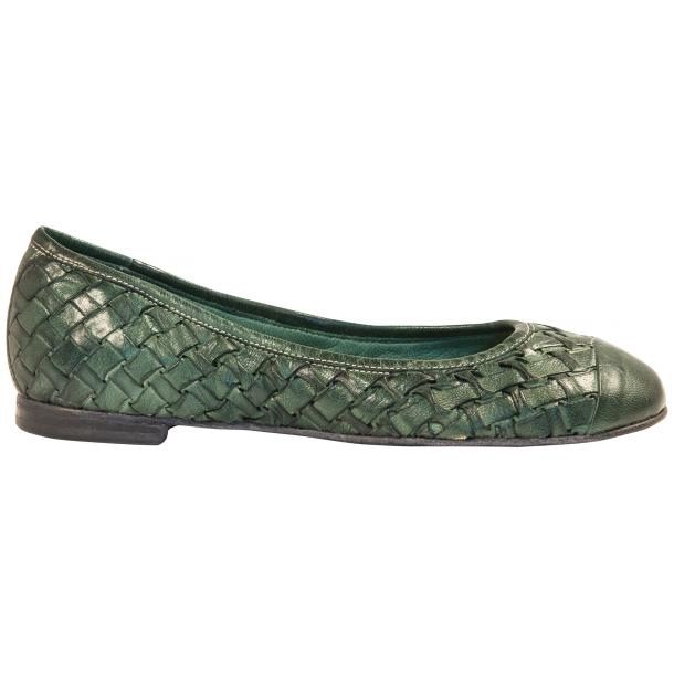 Kate Dip Dyed Green Hand Woven Leather Ballerina Flats thumb #4