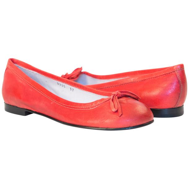Abbie Red Nappa Leather Bow Ballerina Flat  full-size #1