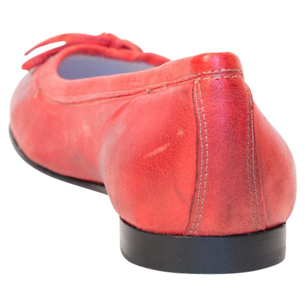 Abbie Red Nappa Leather Bow Ballerina Flat  thumb #5