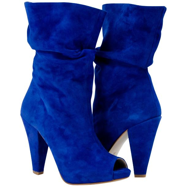 Sandy Cobalt Blue Suede Mid-Calf Crinkled Effect Bootie  full-size #1