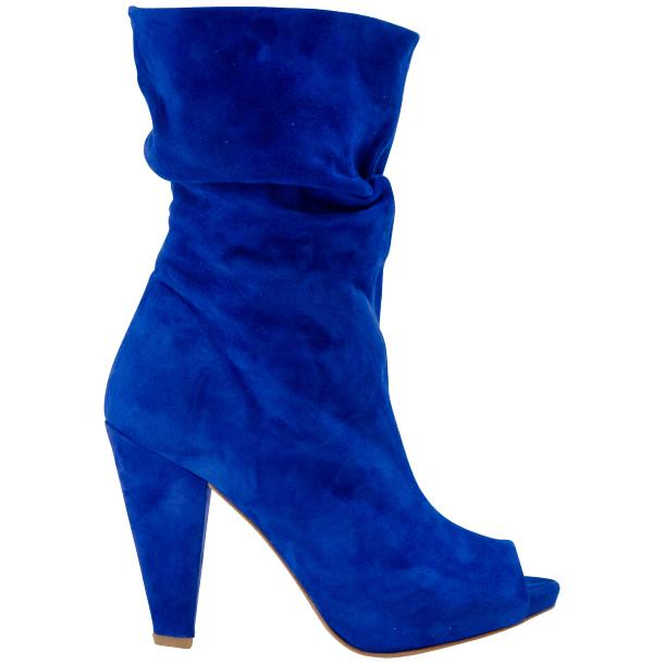 Sandy Cobalt Blue Suede Mid-Calf Crinkled Effect Bootie  thumb #3