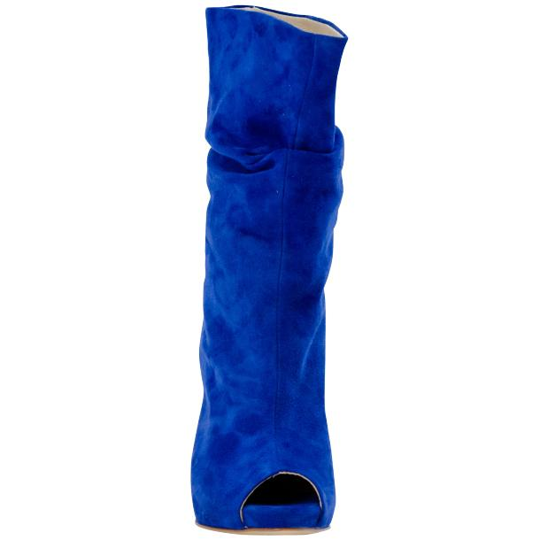 Sandy Cobalt Blue Suede Mid-Calf Crinkled Effect Bootie  thumb #4