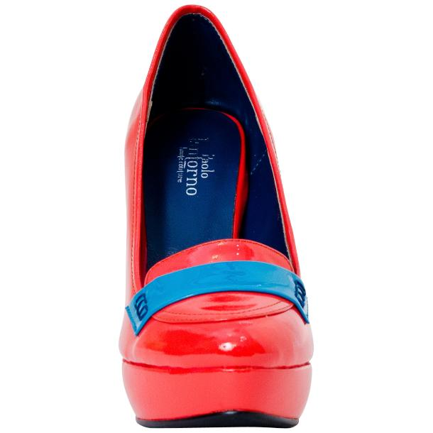 Dita Fire Red and Blue Patent Leather Platform Pumps thumb #2
