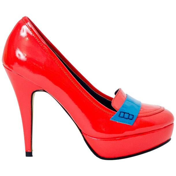 Dita Fire Red and Blue Patent Leather Platform Pumps thumb #4