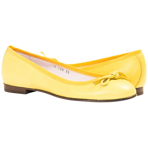 Elena Lemon Yellow Leather Ballerina Flats full-size #1
