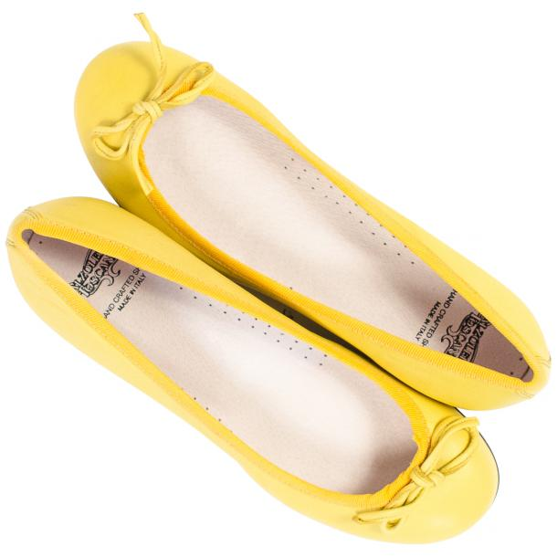 Elena Lemon Yellow Leather Ballerina Flats thumb #2