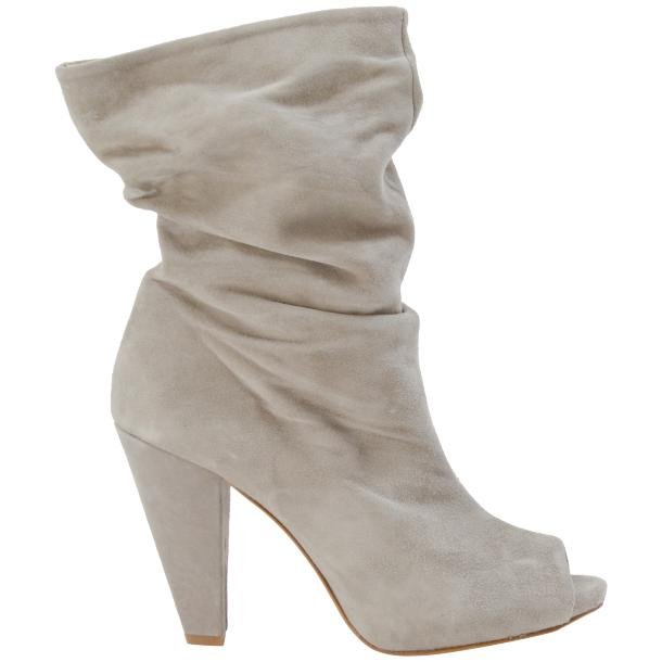 Sandy Light Grey Suede Mid-Calf Crinkled Effect Bootie  thumb #3