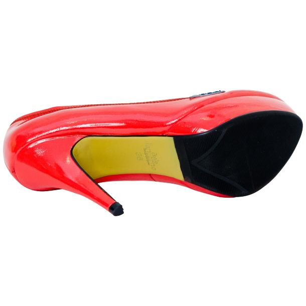Dita Fire Red and Blue Patent Leather Platform Pumps thumb #5