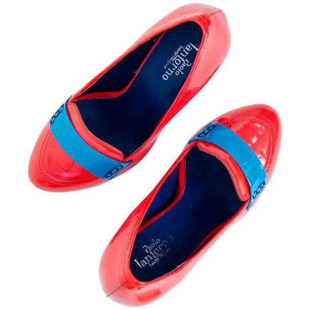 Dita Fire Red and Blue Patent Leather Platform Pumps thumb #6