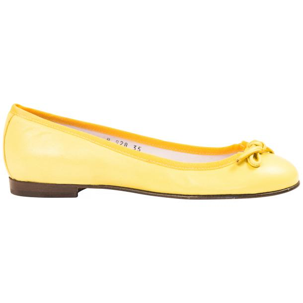 Elena Lemon Yellow Leather Ballerina Flats thumb #4