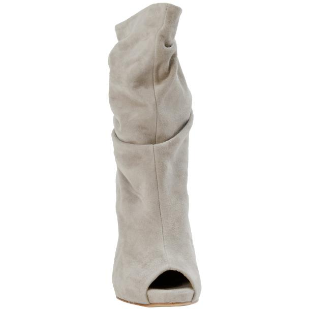 Sandy Light Grey Suede Mid-Calf Crinkled Effect Bootie  thumb #4