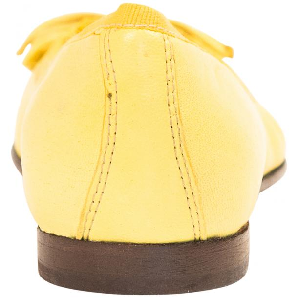 Elena Lemon Yellow Leather Ballerina Flats thumb #5