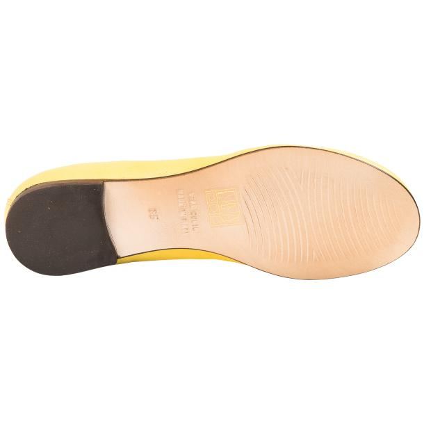 Elena Lemon Yellow Leather Ballerina Flats thumb #6