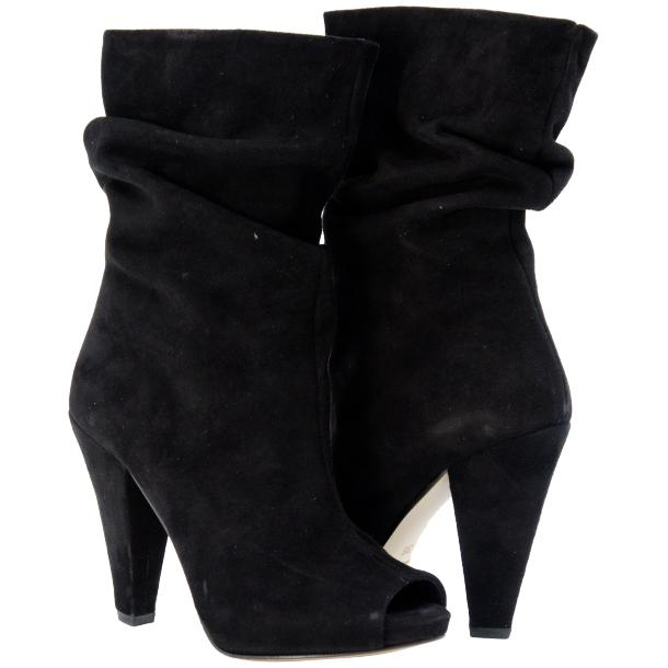 Sandy Black Suede Mid-Calf Crinkled Effect Bootie  full-size #1