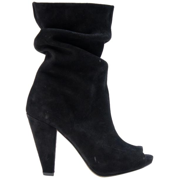 Sandy Black Suede Mid-Calf Crinkled Effect Bootie  thumb #3