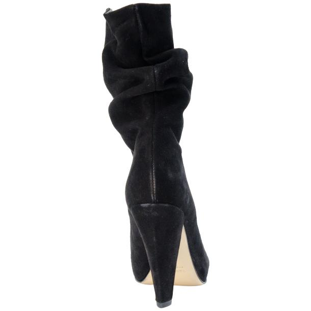 Sandy Black Suede Mid-Calf Crinkled Effect Bootie  thumb #5