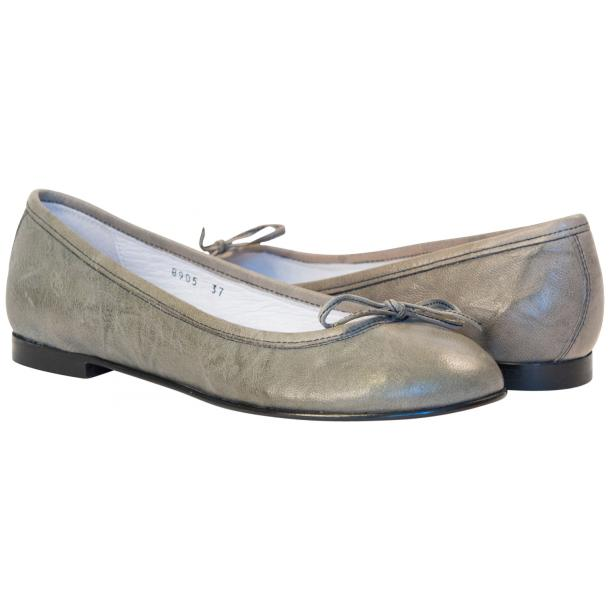 Abbie Grey Nappa Leather Bow Ballerina Flat full-size #1