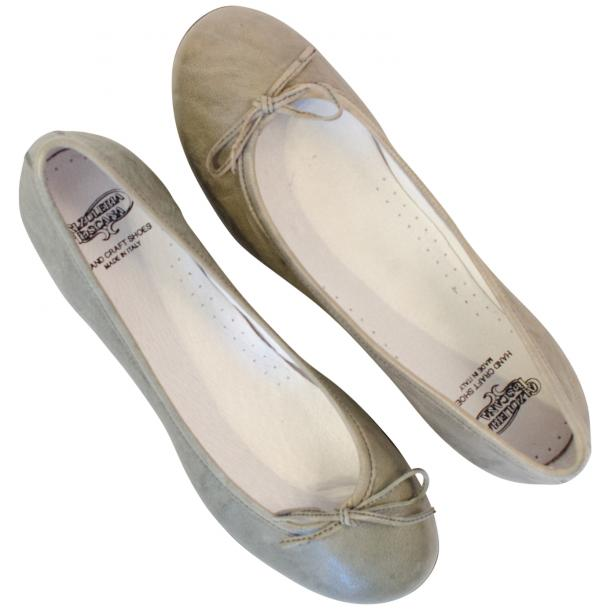 Diamond Grey Nappa Leather Bow Ballerina Flat thumb #2