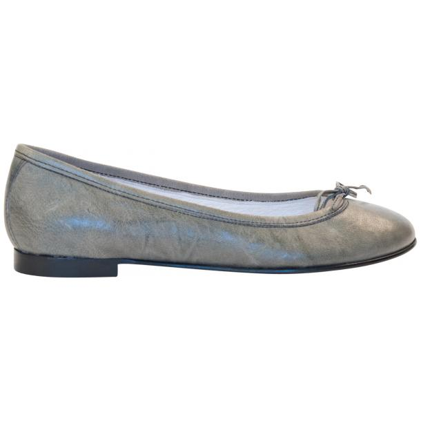 Abbie Grey Nappa Leather Bow Ballerina Flat thumb #4