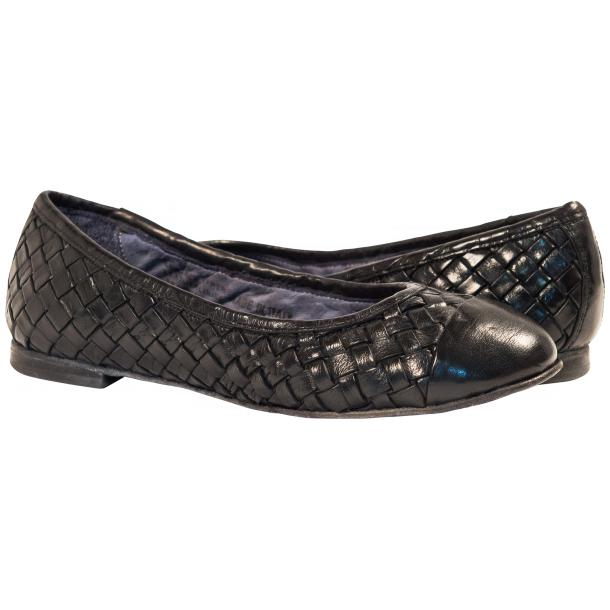 Kate Dip Dyed Navy Blue Woven Leather Ballerina Flats full-size #1