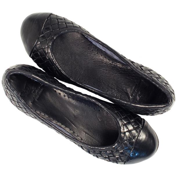 Kate Dip Dyed Navy Blue Woven Leather Ballerina Flats full-size #2