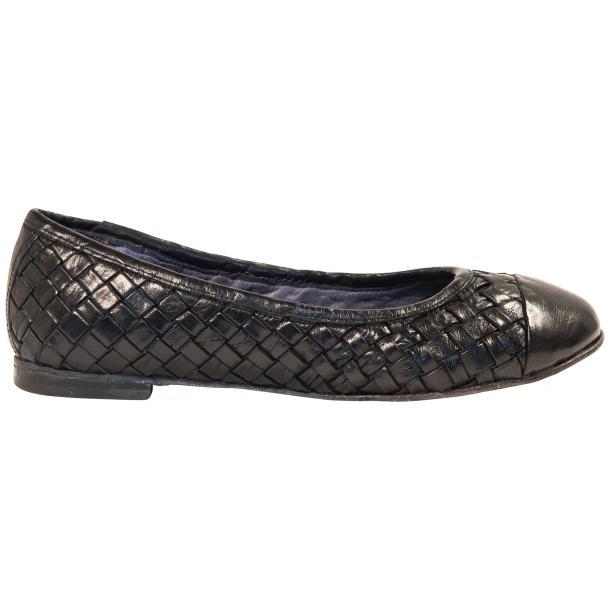 Kate Dip Dyed Navy Blue Woven Leather Ballerina Flats full-size #4