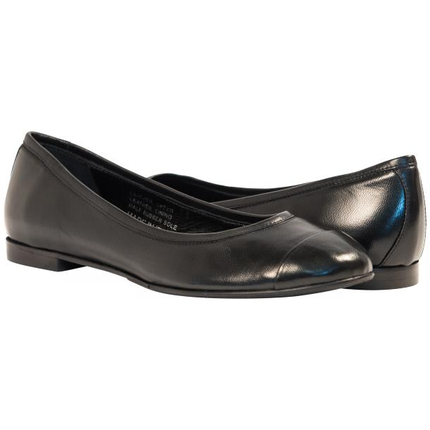 Paulina Black Nappa Leather Cap Toe Ballerina Flats thumb #1