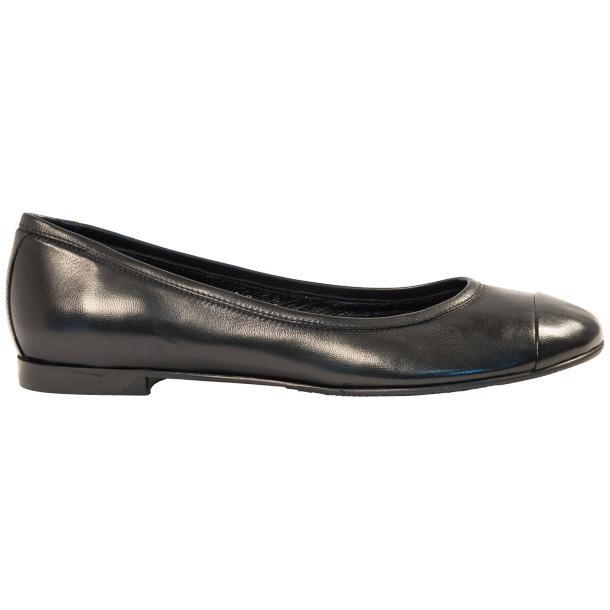 Paulina Black Nappa Leather Cap Toe Ballerina Flats thumb #4