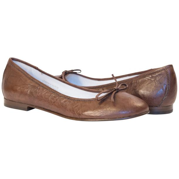Nadia Brown Wrinkled Nappa Leather Bow Ballerina Flat full-size #1