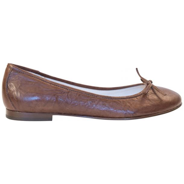 Nadia Brown Wrinkled Nappa Leather Bow Ballerina Flat thumb #4
