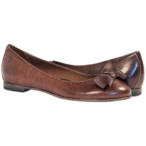 Jen Brown Nappa Leather Ballerina Flats With a Bow full-size #1