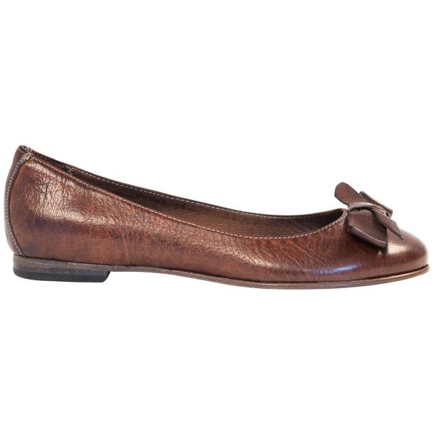 Jen Brown Nappa Leather Ballerina Flats With a Bow thumb #4
