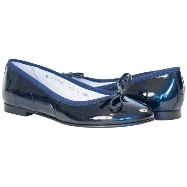 Lisa Navy Blue Patent Leather Ballerina Flat full-size #1