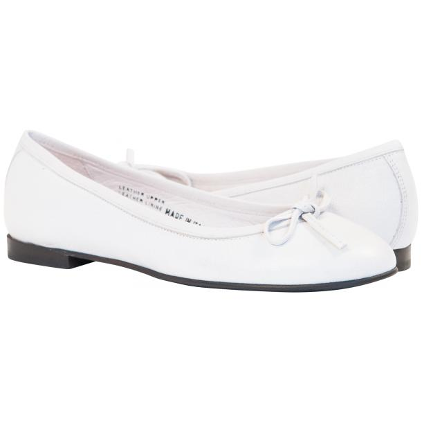 Sammie White Nappa Leather Bow Ballerina Flat full-size #1