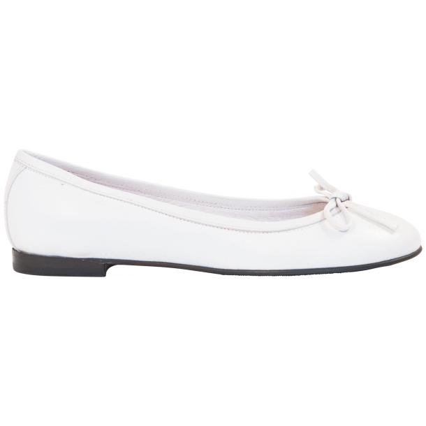 Sammie White Nappa Leather Bow Ballerina Flat thumb #4