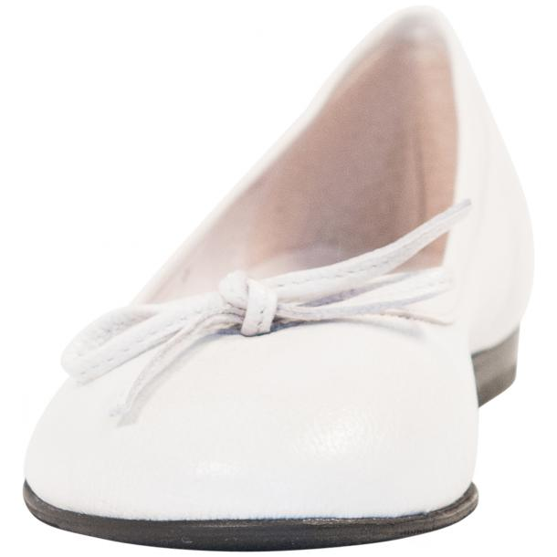 Sammie White Nappa Leather Bow Ballerina Flat thumb #3