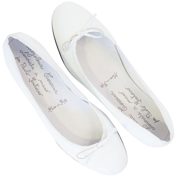 Uma White Patent Leather Ballerina Flat  thumb #2