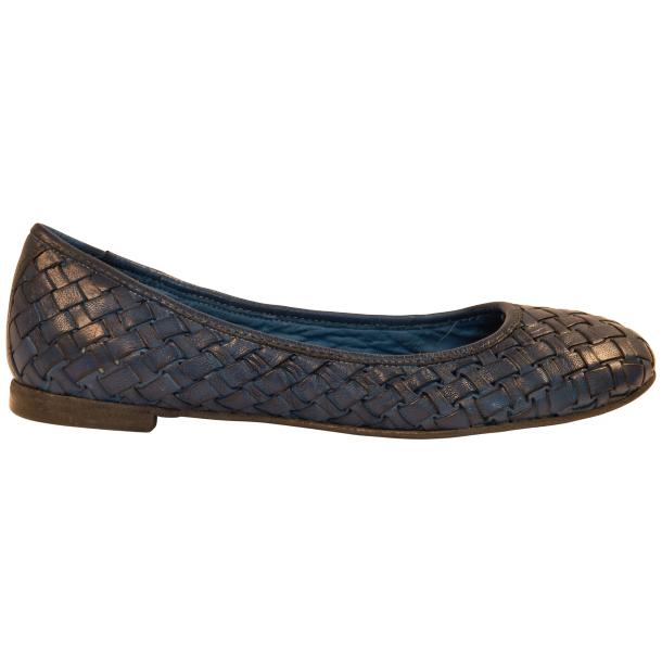 Eliza Dip Dyed Indigo Blue Leather Woven Ballerina Flats thumb #4
