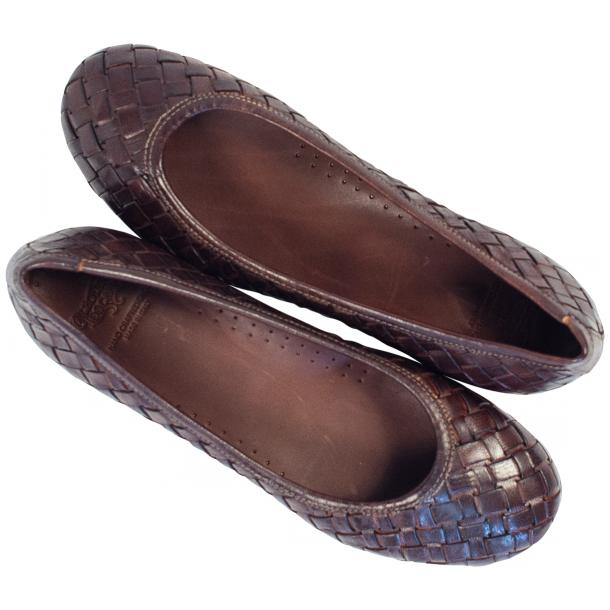 Marianna Dip Dyed Dark Brown Leather Woven Ballerina Flats thumb #2