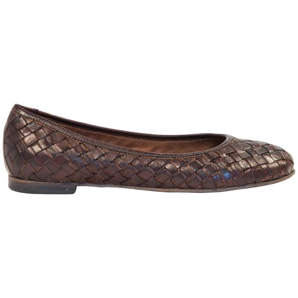 Marianna Dip Dyed Dark Brown Leather Woven Ballerina Flats thumb #4