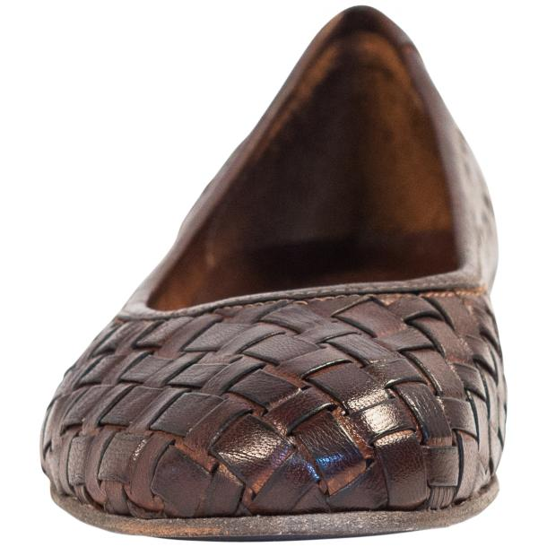 Marianna Dip Dyed Dark Brown Leather Woven Ballerina Flats thumb #3