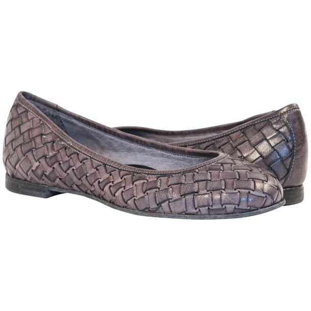 Adele Dip Dyed Grey Leather Woven Ballerina Flats thumb #1
