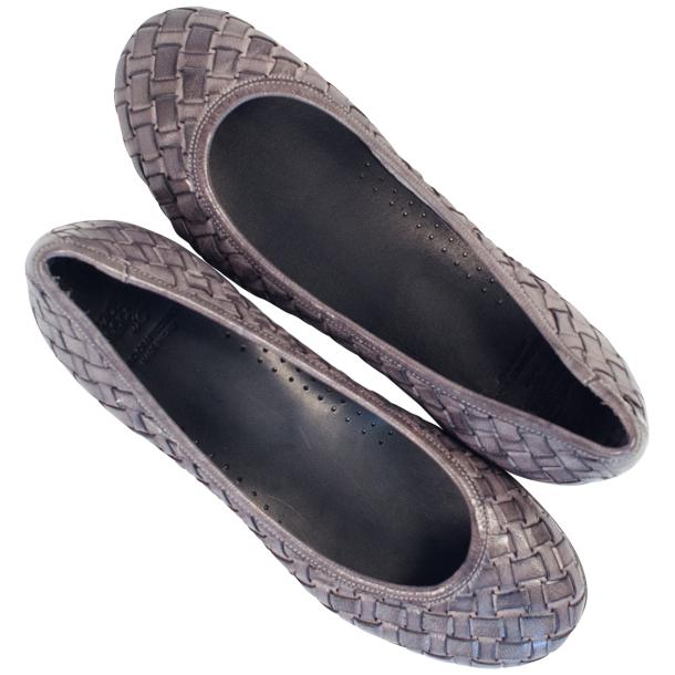 Adele Dip Dyed Grey Leather Woven Ballerina Flats thumb #2